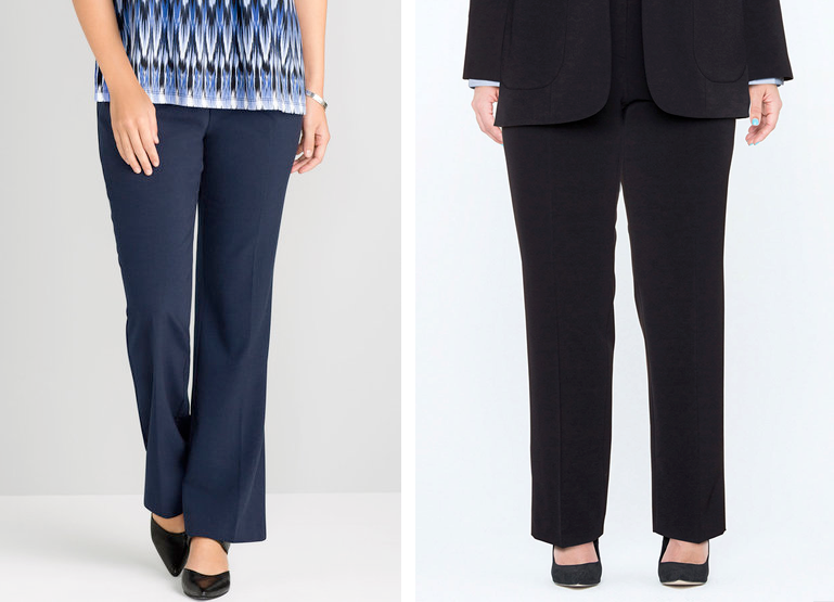 Sara Workwear Pants, $69.99 from EziBuy and Samoon Tailored Trousers, AUD $159.99 from Navabi