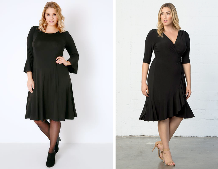 Black Fit & Flare Jersey Dress With Flute Sleeves, AUD $46.00 from Yours Clothing and Whimsy Wrap Dress, USD $98.00 from Kiyonna