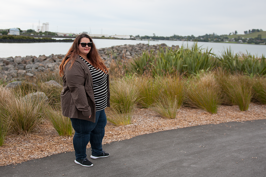 New Zealand plus size fashion blogger Meagan Kerr wears Mink Denim Tee from Myer, Kate Madison Jeans and Jacket from The Warehouse and Dolce&Gabbana Sunglasses from SmartBuyGlasses