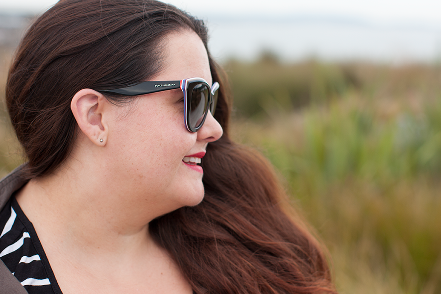 New Zealand plus size fashion blogger Meagan Kerr wears Dolce&Gabbana Sunglasses from SmartBuyGlasses