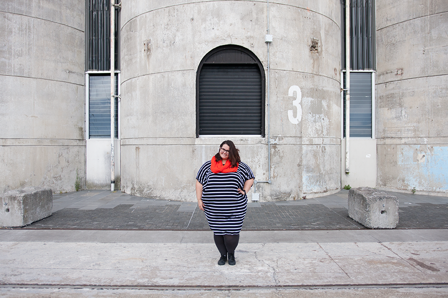 New Zealand plus size blogger Meagan Kerr wears Isla-Maree Curve+ Miracle Dress and Sonsee Opaque 100 Denier Tights in Shadow