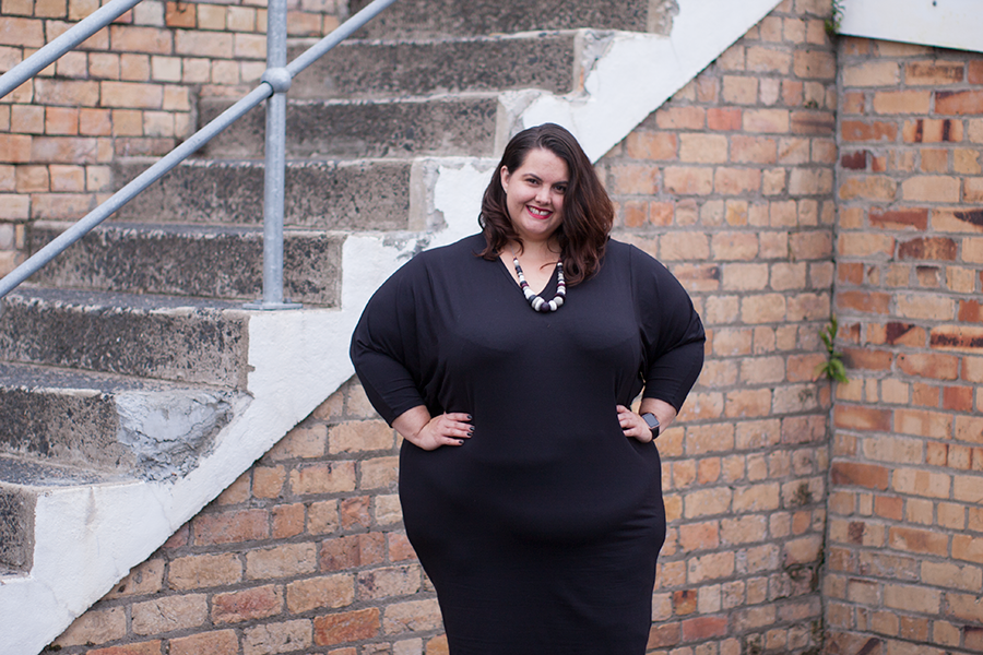 New Zealand plus size blogger Meagan Kerr wears Harlow Rebel Yell dress