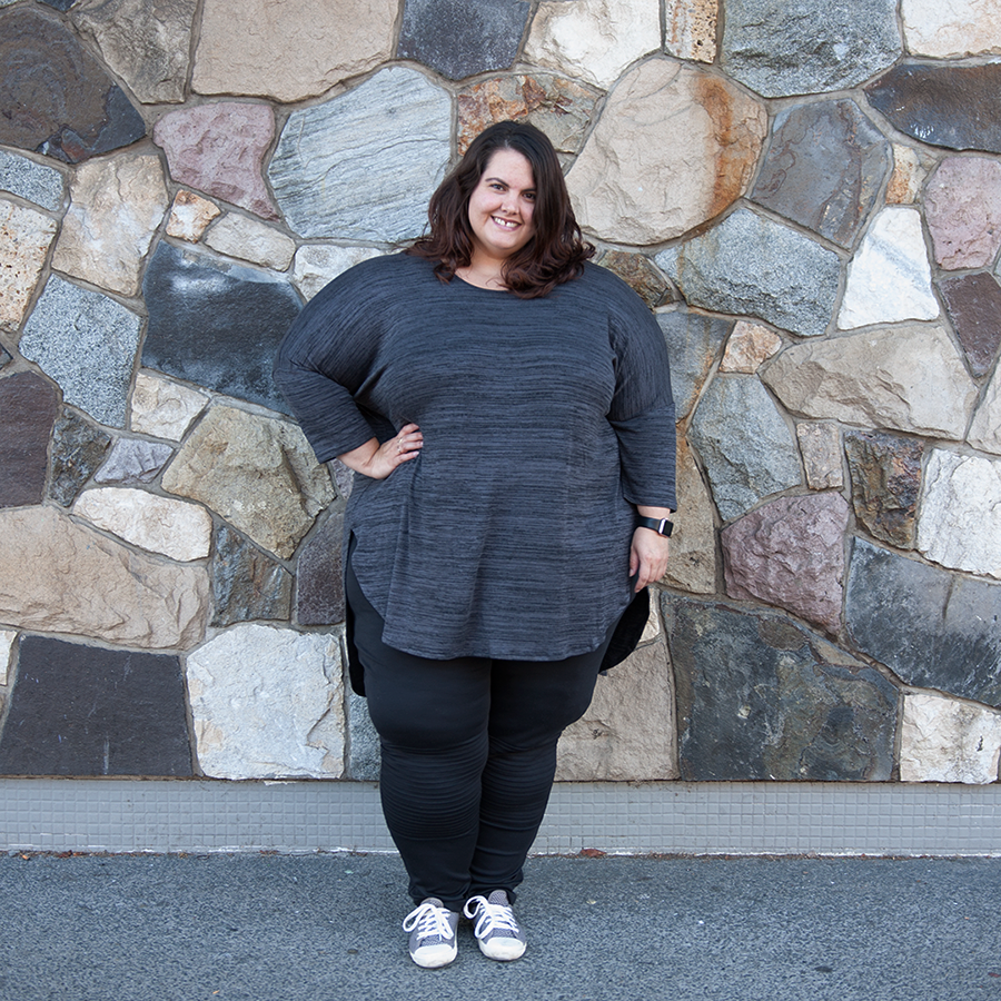 New Zealand plus size fashion blogger Meagan Kerr wears K&K Zip Back Cocoon Top and Yours Clothing Biker Pintuck Jeggings