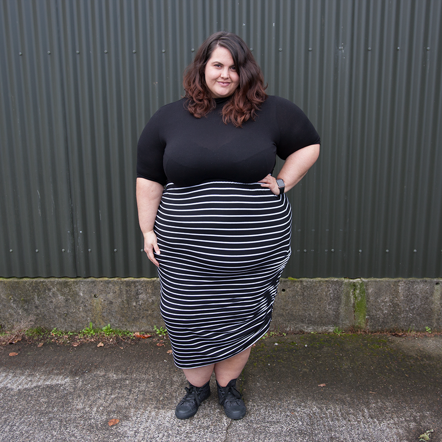 Meagan Kerr wears ASOS CURVE Turtleneck and Harlow Sweetest Taboo Skirt