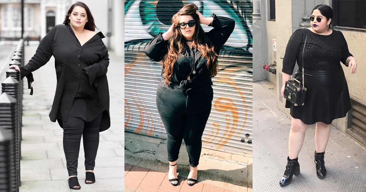 Plus size women rocking black on black outfits