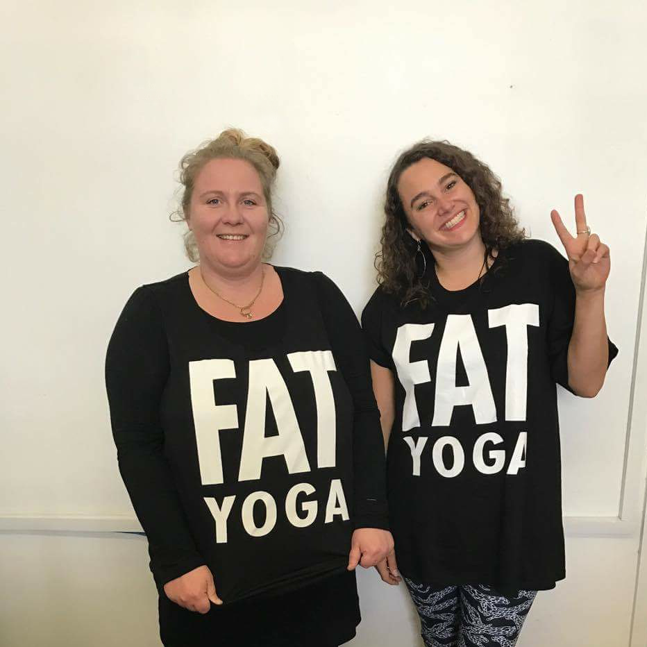 Sarah-Jane from Lost and Led Astray and Kristina from The Kindness Institute wearing Fat Yoga tees