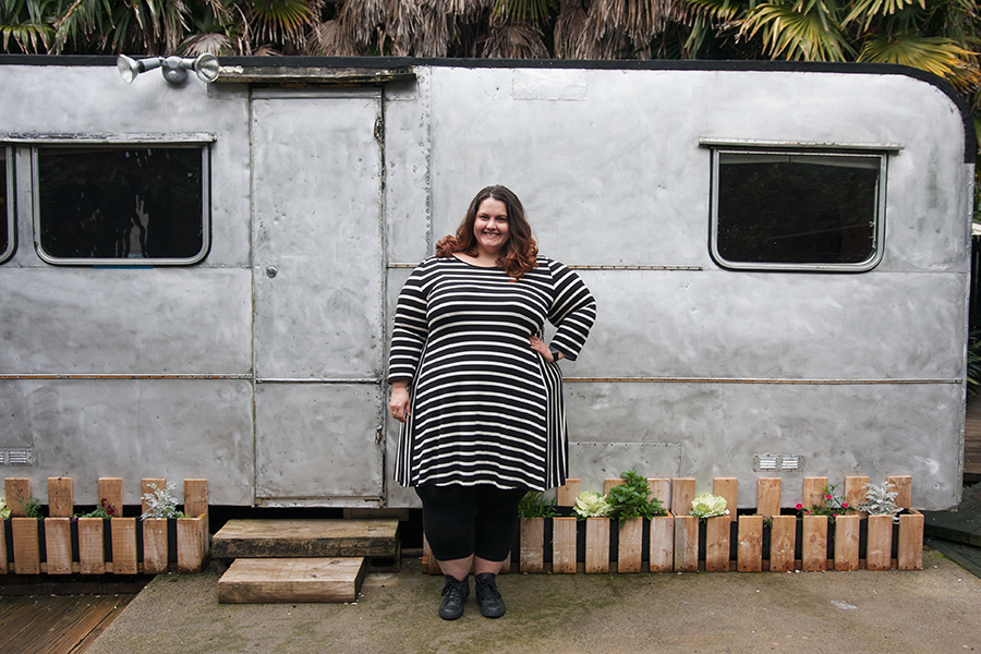 New Zealand plus size blogger Meagan Kerr wears Swings and Roundabouts dress from Dressing Room