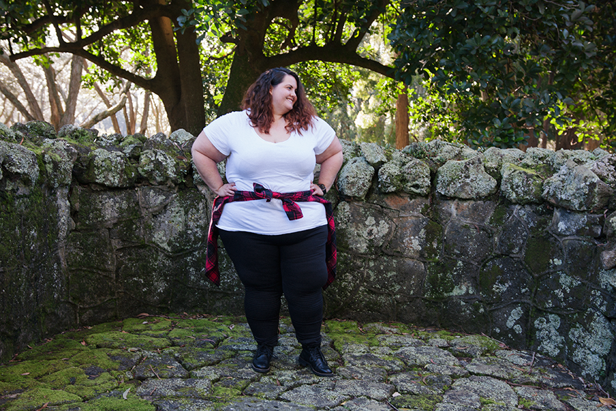 New Zealand plus size blogger Meagan Kerr wears Kate Madison Check Shirt