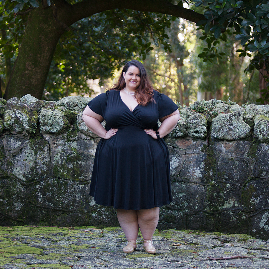 New Zealand plus size blogger Meagan Kerr wears black Lady Voluptuous Lyra Dress from Two Lippy Ladies