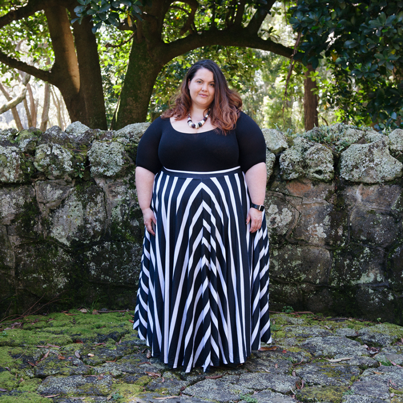 Beetlejuice Beetlejuice Beetlejuice! Plus size blogger Meagan Kerr wears Sonsee Bodysuit and Joolz Fashion Striped Maxi Circle Skirt