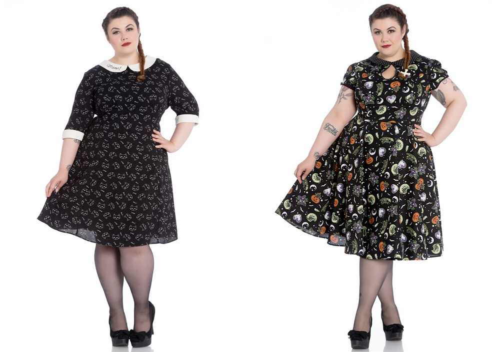 Plus Size Halloween Costumes // Hell Bunny Matou Dress and Hell Bunny Salem Dress from Two Lippy Ladies