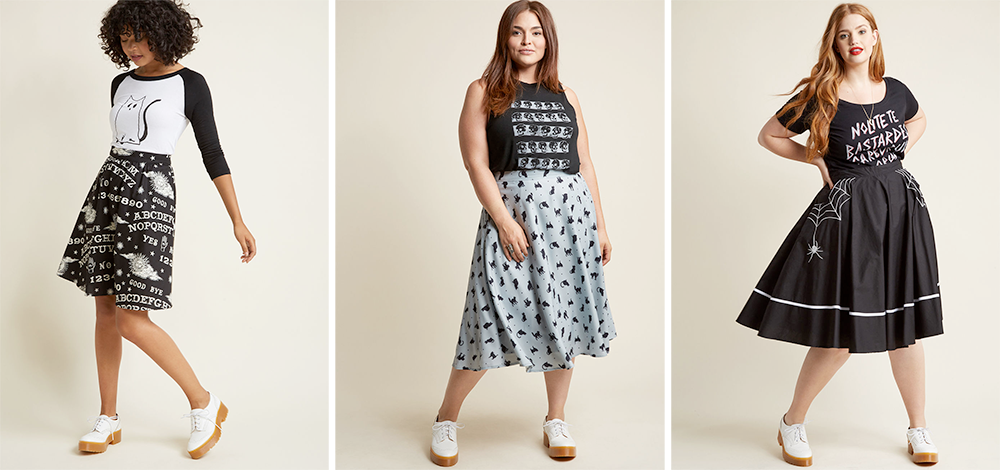 Plus Size Halloween Costumes // Messages by Moonlight Glow-in-the-Dark A-Line Skirt, A-Line Circle Skirt with Pockets in Cats and Hell Bunny Web and Flow Midi Skirt from ModCloth