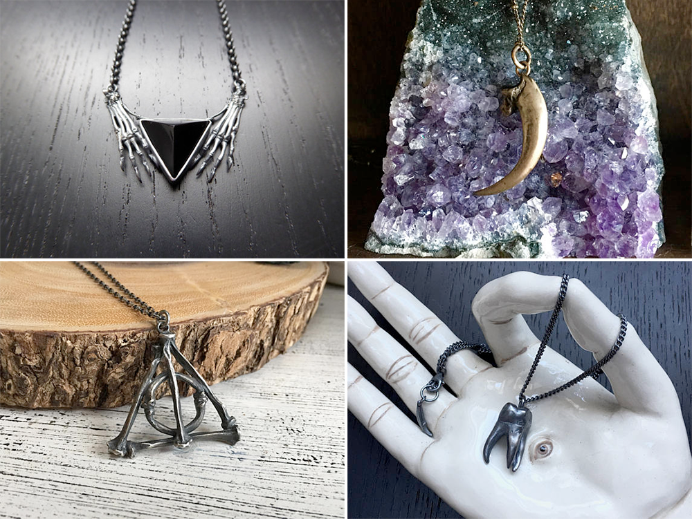 Plus Size Halloween Costumes // Nostradamus Necklace, Raven Claw Pendant, Deathly Hallows Bone Pendant and Tooth Ache Pendant from LSD Jewellery