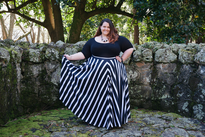 How to style a bodysuit: Plus size blogger Meagan Kerr wears Sonsee Bodysuit and Joolz Fashion Striped Maxi Circle Skirt