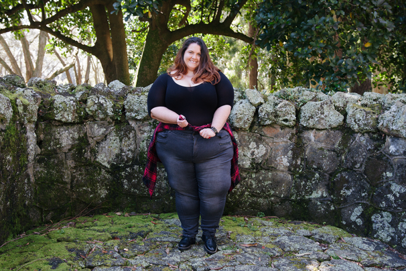 How to style a bodysuit: Plus size blogger Meagan Kerr wears Sonsee Bodysuit, Kate Madison Jeans and Flannel Button Up from The Warehouse