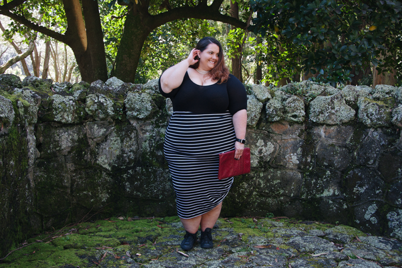 How to style a bodysuit: Plus size blogger Meagan Kerr wears Sonsee Bodysuit and Harlow Sweetest Taboo Skirt
