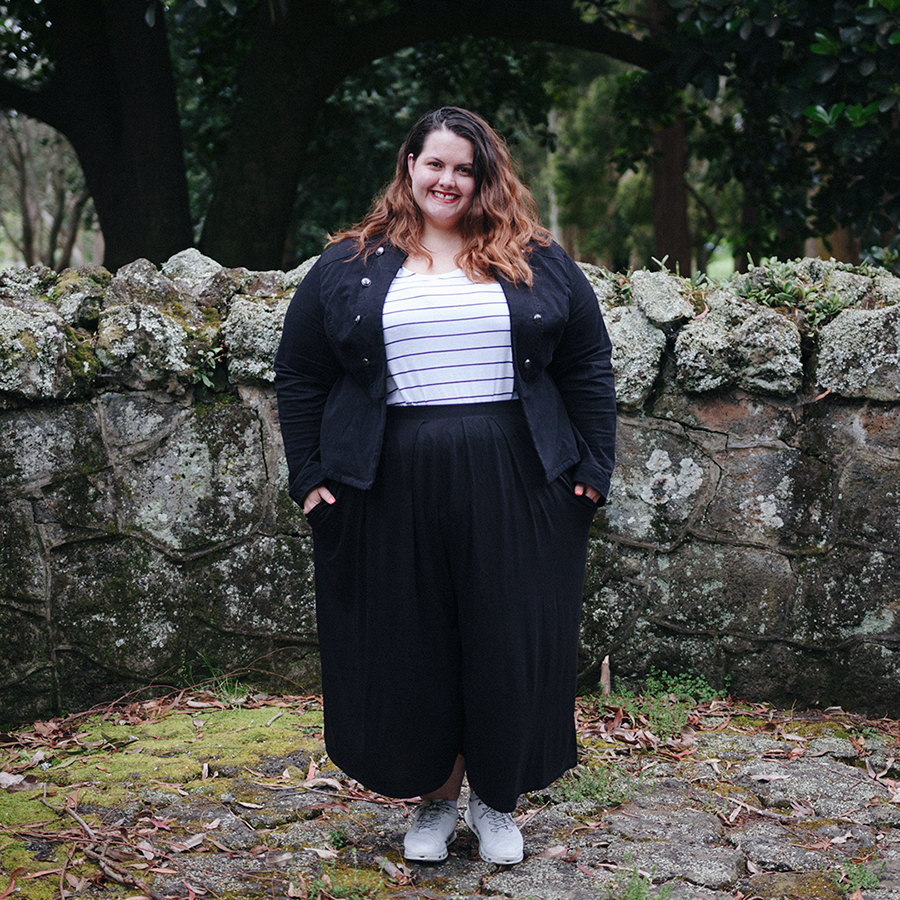Plus size clothing haul | Meagan wears Kate Madison Striped Tank from The Warehouse, ASOS Curve Pleated Wide Leg Culottes from ASOS, Jacket from Torrid