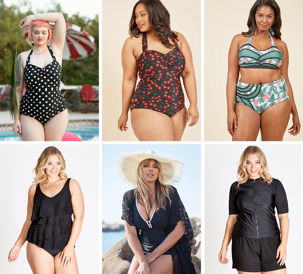 Plus size swimsuit special 2017 // ModCloth Beach Blanket Bingo One-Piece Swimsuit USD $89.99 | ModCloth Fruity Suity One-Piece Swimsuit USD $89.99 | Set the Serene Swimsuit in Flamingo, Top USD $15.97 and Bottom USD $15.97 | Autograph Crochet Ruffle One Piece $74.99 | Autograph Ruched One Piece $54.99 | Autograph Mesh Self Stripe Rash Vest $54.99
