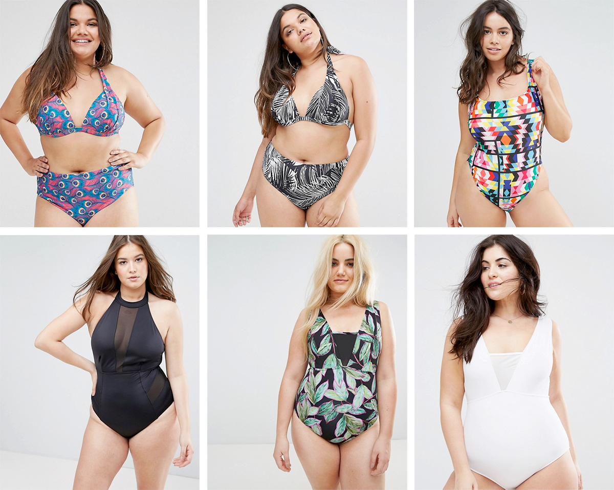 Plus size swimsuit special 2017 // Boohoo Plus Feather Print Bikini Top $26.22 and Bottoms $21.85 | Boohoo Plus Tropical Print Bikini Top $26.22 and Bottoms $21.85 | Monif C Geo Print Swimsuit $183.56 | ASOS CURVE Mesh Insert Halter Swimsuit, $56.82 | ASOS CURVE Tropical Pop Swimsuit With Mesh Insert, $69.93 | ASOS CURVE Mesh Insert Supportive Swimsuit, $61.19