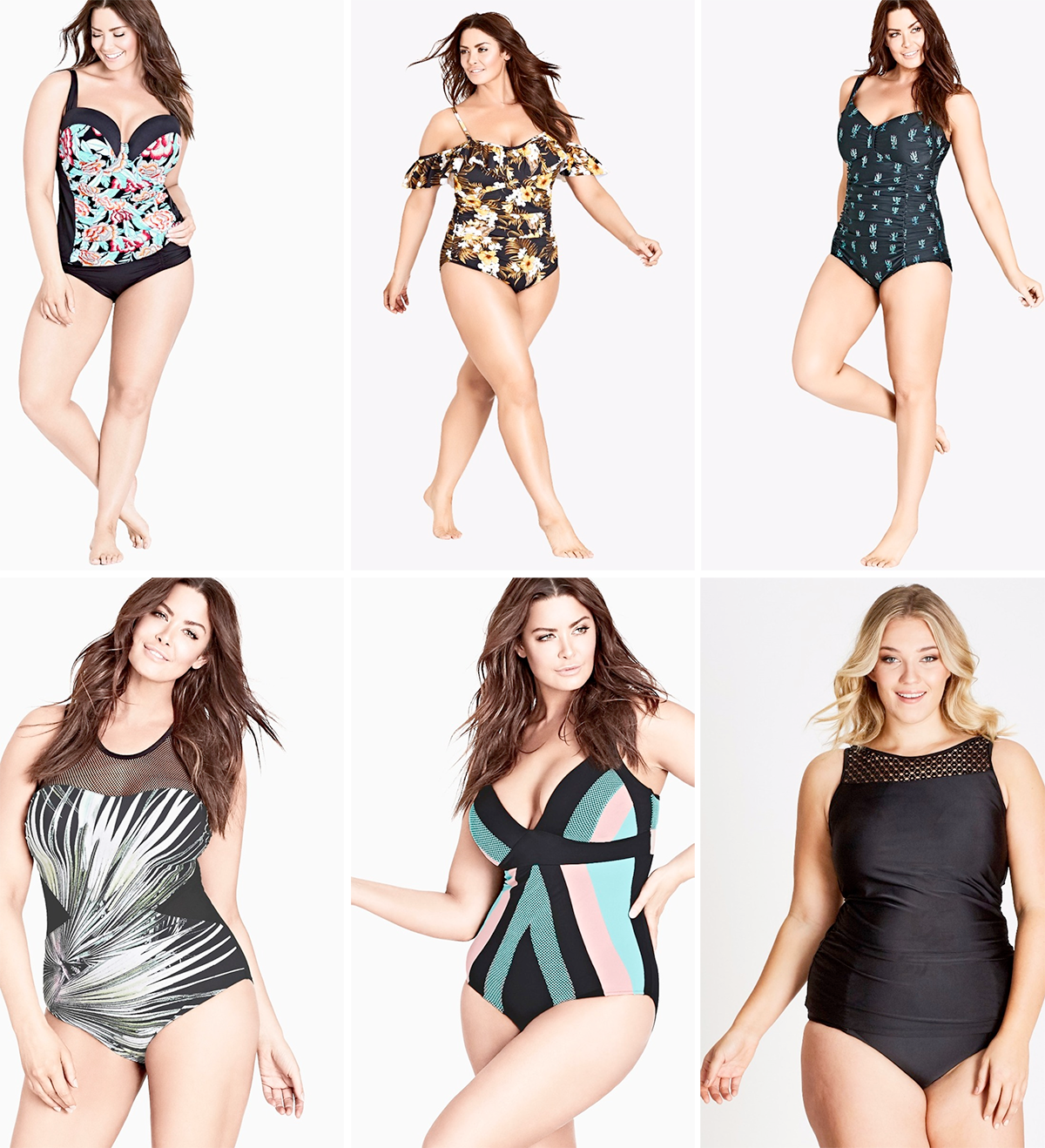 Plus size swimsuit special 2017 // Sunset Underwire Tank, $109.99 from City Chic | Aruba Frill One Piece Swimsuit, $139.99 from City Chic | Cute Cactus One Piece Swimsuit, $109.99 from City Chic | Foliage One Piece Swimsuit, $149.99 from City Chic | Summer Splice One Piece Swimsuit, $109.99 from City Chic | Crochet Yoke Tankini, $54.99 from Autograph