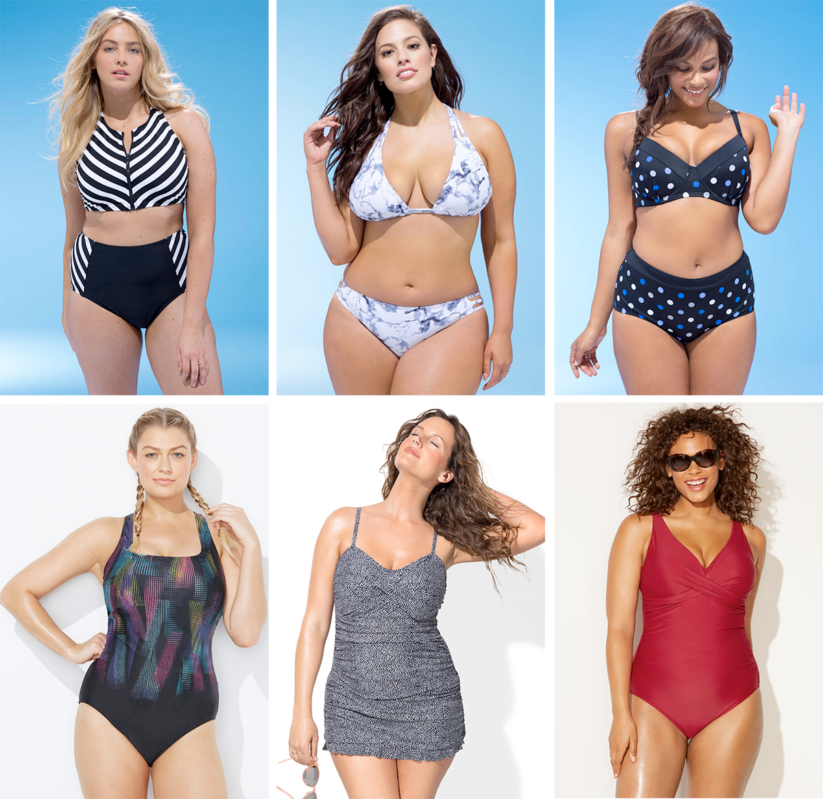Plus size swimsuit special 2017 // Speedster Bikini, USD $53.20 from Swimsuits For All | Beach Babe Marble Bikini, USD $47.60 from Swimsuits For All | Director Underwire Bikini, USD $50.40 | Chlorine Resistant Litebrite X-Back Swimsuit, USD $46.20 from Swimsuits For All | Bedrock Ruffle Swimdress, USD $54.60 from Swimsuits For All | Sangria V-Neck Swimsuit, USD $50.40 from Swimsuits For All