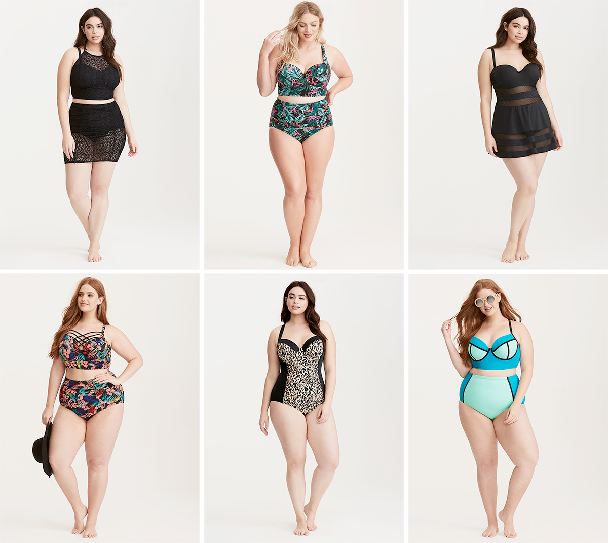Plus size swimsuit special 2017 // Crochet Bikini, Halter Top USD $55.98 and Skirt Bottom USD $39.98 from Torrid | Tropical Print Bikini, Top USD $19.99 and Bottom USD $19.99 from Torrid | Mesh Inset Skater One Piece Swimsuit, USD $108.90 from Torrid | Tropical Print Bikini, Top USD $68.90 and Bottom USD $44.90 from Torrid | Leopard Print Side One Piece Swimsuit, USD $84.98 from Torrid | Colorblock Bikini, Top USD $68.90 and Bottom USD $44.90 from Torrid
