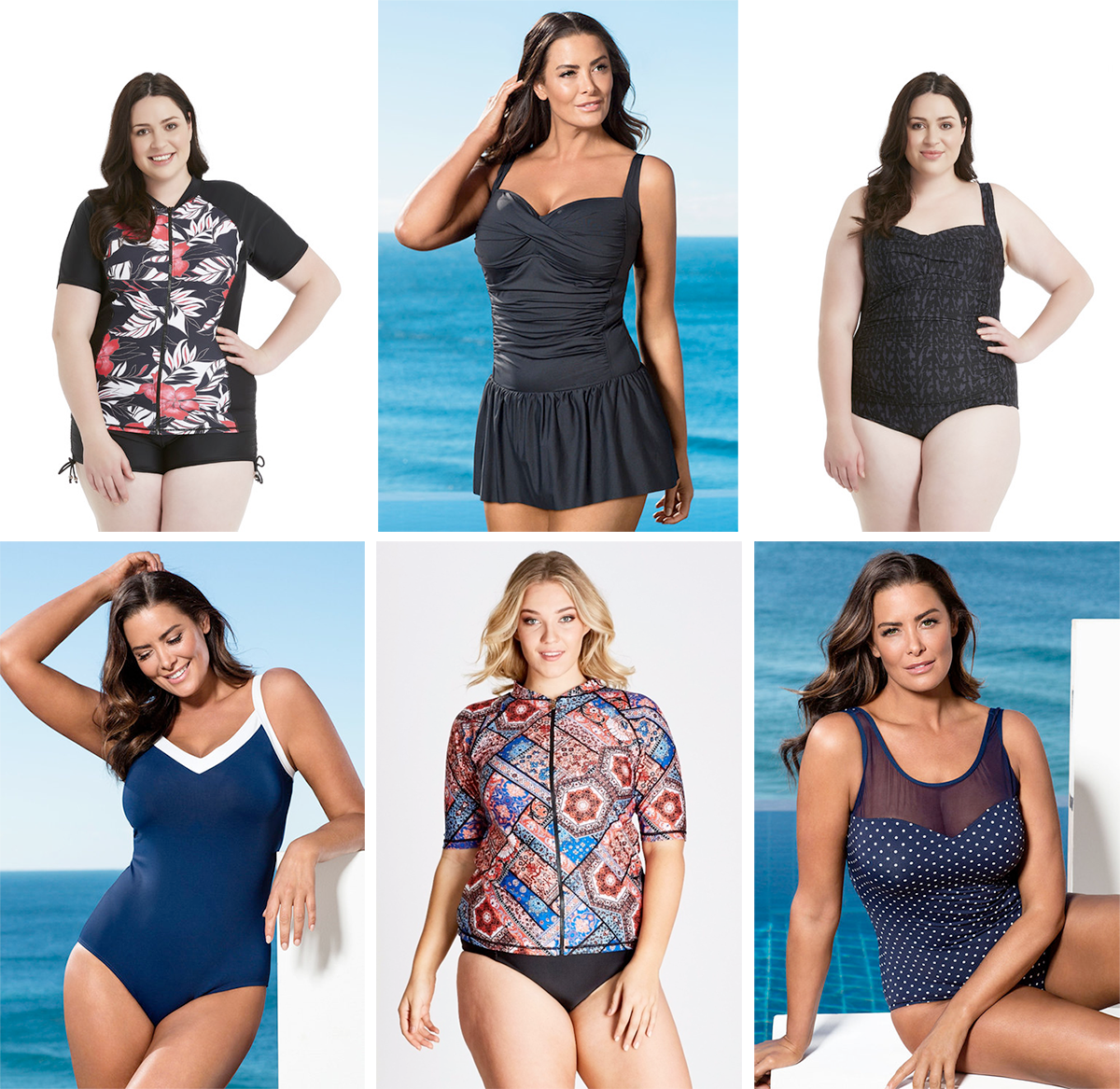Plus size swimsuit special 2017 // Zest Resort Curve Panelled Rash Top, $69.99 from Farmers | Quayside Woman Twist Skirted Swimsuit, $109.99 from EziBuy | Zest Resort Curve Tonal Animal Swimsuit, $99.99 from Farmers | Quayside Woman Sports Swimsuit, $99.99 from Farmers | Moroccan Tile Rash Vest, $54.99 from Autograph | Quayside Woman Mesh Swimsuit, $99.99 from EziBuy