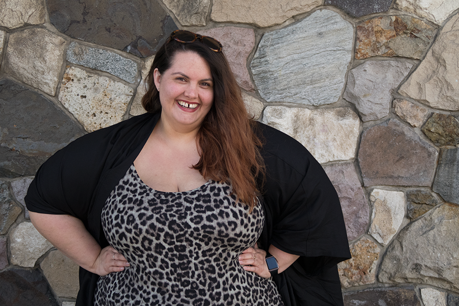 New Zealand plus size blogger Meagan Kerr wears Harlow Leopard Print Bodycon Dress