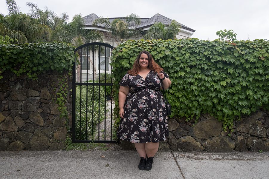 Plus size blogger Meagan Kerr wears Lady Voluptuous Floral Lyra Dress from Two Lippy Ladies