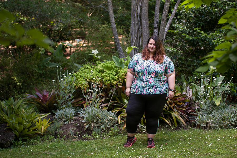 Meagan Kerr wears plus size activewear from the Active Intent range at The Warehouse