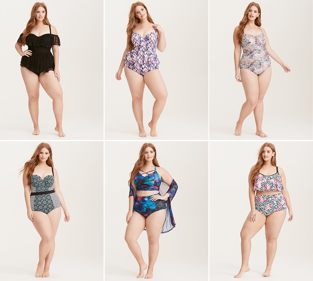 Plus size swimsuit special 2017 // Polka Dot Mesh Off Shoulder One Piece Swimsuit, USD $108.90 from Torrid   Geo Print Peplum Midkini Top USD $78.90 and Bottoms USD $44.90 from Torrid   Snake Skin Print Lattice Front One Piece Swimsuit, USD $88.90 from Torrid   Tile Print Push Up One Piece Swimsuit, USD $98.90 from Torrid   Galaxy Print Strap Keyhole Bikini Top USD $58.90 and Bottom USD $44.90 from Torrid   Rose Chevron Print Flounce Bikini Top USD $58.90 and Bottom USD $38.90 from Torrid
