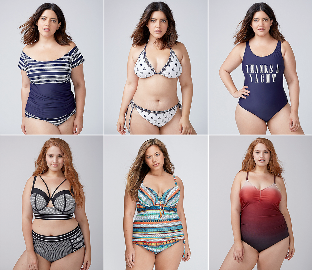 Plus size swimsuit special 2017 // Off-the-Shoulder Swim Tankini, Top with Built-In Bandeau Bra USD $68.50-$78.50 and Swim Brief USD $50.50 from Lane Bryant   Sailboats String Bikini Top USD $52.50 and Bottoms USD $48.50 from Lane Bryant   Thanks a Yacht Scoop-Neck Swim One Piece, USD $110.50 from Lane Bryant   Colorblock Longline Bikini, Top with Built-In Balconette Bra USD $64.50-$74.50 and Bottoms USD $54.50 from Lane Bryant   Swim Tankini Top with Built-In Balconette Bra USD $78.50 and Tassel Drawstring High-Waist Swim Brief USD $39.99 from Lane Bryant   Shimmer Ombre Swim One-Piece with Built-In No-Wire Bra, USD $120.50 from Lane Bryant