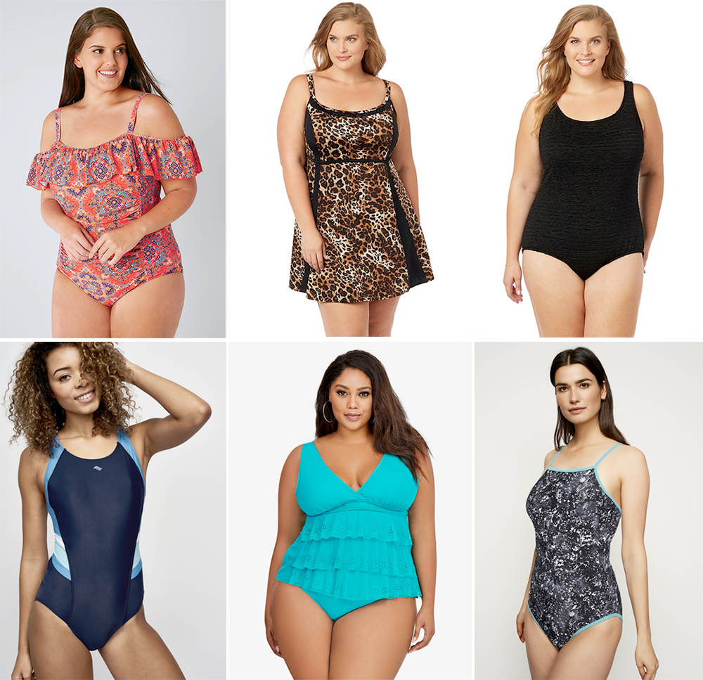 Plus size swimsuit special 2017 // Orange & Multi Tile Print Cold Shoulder Frill Swimsuit, AUD $56.00 from Yours Clothing   On The Spot Swimdress, USD $139.00 from Catherines   Hamptons Textured Swimsuit, USD $119.00 from Catherines   Active Colorblock Swimsuit, AUD $67.00 from Long Tall Sally   Triple Tier Cross-Back Tankini USD $54.50 and Low-Waist Swim Brief USD $39.50 from Ashley Stewart   Splatter Print Swimsuit, AUD $79.00 from Long Tall Sally