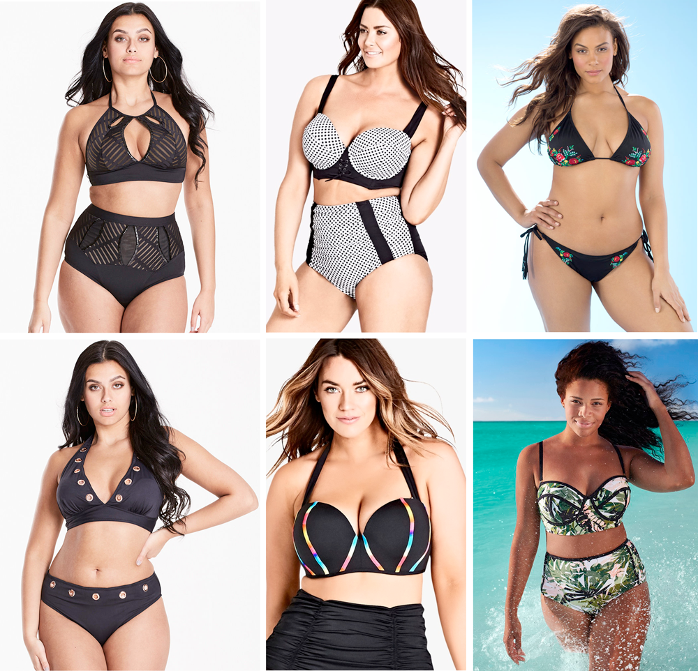 Plus size swimsuit special 2017 // Figleaves High Neck Embellished Bikini Set, £40.00 from Figleaves   Corsica Underwire Bikini Top $60.00 and Briefs $30.00 from City Chic   Adventuress Kiev String Bikini, USD $52.00 from Swimsuits For All   Figleaves Chain Detail Bikini Set, £40.00 from Figleaves   Neon Underwire Bikini Top $55.00 and Basic Bikini Brief $49.95 from City Chic   Swim Sexy Madame Everglade Underwire Bikini, USD $58.50 from Swimsuits For All