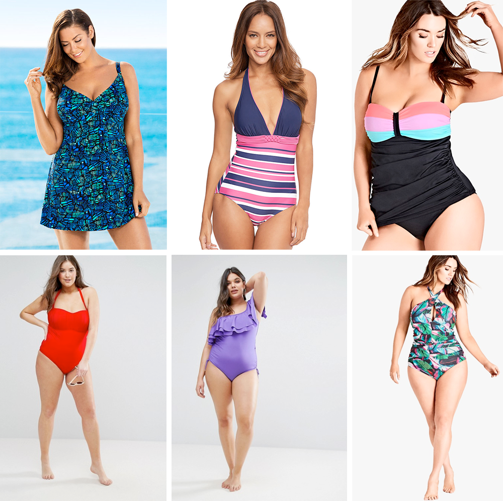 Plus size swimsuit special 2017 // Quayside Woman Skirted Suit, $109.99 from EziBuy   Tuscany Stripe Longer Length Swimsuit, £38.00 from Figleaves   Summer Splice Tank, $65.00 from City Chic   ASOS CURVE Ruched Bandeau Swimsuit, AUD $64.00 from ASOS   Monif C One Shoulder Frill Swimsuit, AUD $182.00 from ASOS   Brasilia One Piece, $95.00 from City Chic