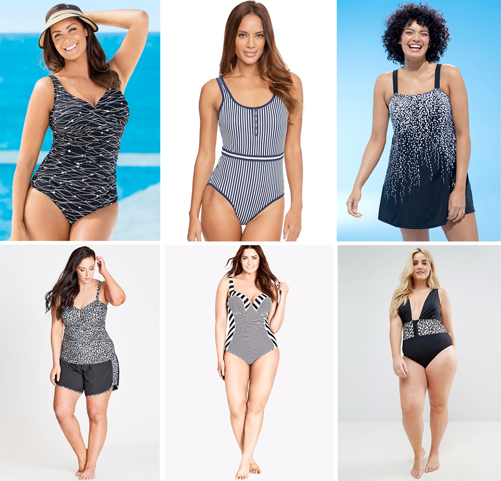 Plus size swimsuit special 2017 // Quayside Woman Cross Over Swimsuit, $55.00 from EziBuy   Madison Soft Cup Swimsuit, £38.00 from Figleaves   Swim365 Falling Princess Seam Swimdress, USD 58.50 from Swimsuits For All   Animal Tankini $14.99 and Short Boardshorts $14.99 from Autograph   Positano Underwire One Piece Swimsuit, $95.00 from City Chic   ASOS CURVE Leopard Print Corset Supportive Swimsuit, AUD $64.00 from ASOS