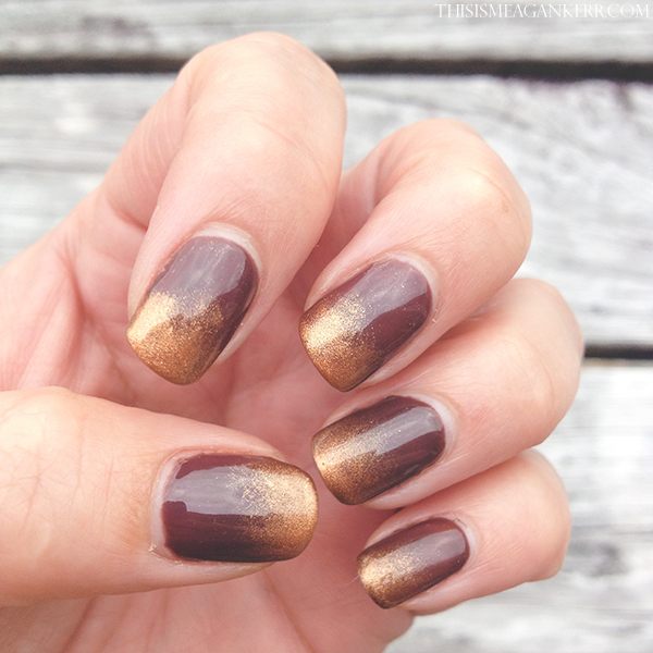 Chocolate and gold dust ombre nail art - This is Meagan Kerr