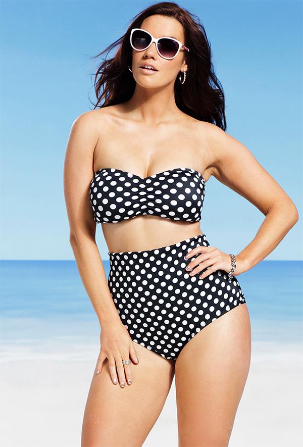 836c6a84a9c Swimsuits For All Swim Sexy Polka Dot Bandeau Halter High Waist Bikini ...