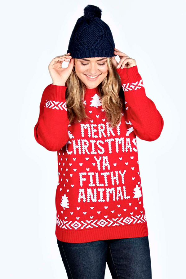 plus size christmas sweaters that dont suck boohoo plus ivy filthy animal xmas - Misfits Christmas Sweater