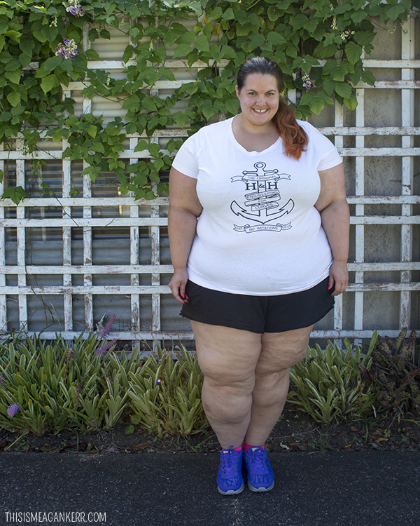 789c6a498466 Plus Size Activewear - Meagan Kerr wears Hope and Harvest Anchor Tee with  17 Sundays Boyfriend ...