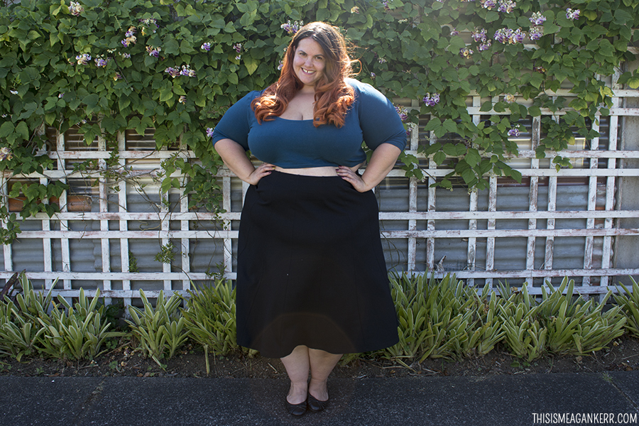 7fe7d6c6ecb30 OOTD Meagan Kerr Chubby Cartwheels Plus Size Crop Top and Yourself Luxe  Ponte Panelled Skirt ...