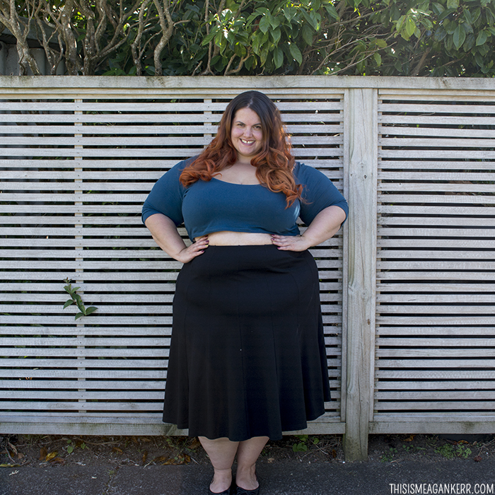 3cf223a9774 OOTD Meagan Kerr Chubby Cartwheels Plus Size Crop Top and Yourself Luxe  Ponte Panelled Skirt ...
