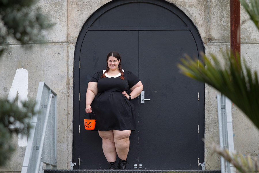 cb493ad5f4 Plus size blogger Meagan Kerr dresses up as Wednesday Addams for Halloween  ...