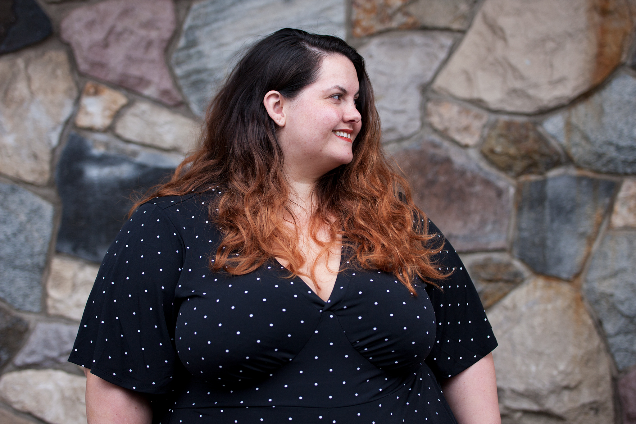 a1e539eec1b New Zealand plus size blogger Meagan Kerr wears Polka Dot Romper from Torrid .